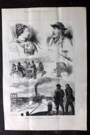 ILN 1880 Antique Print. Sketches of the Tay Bridge Disaster, Scotland
